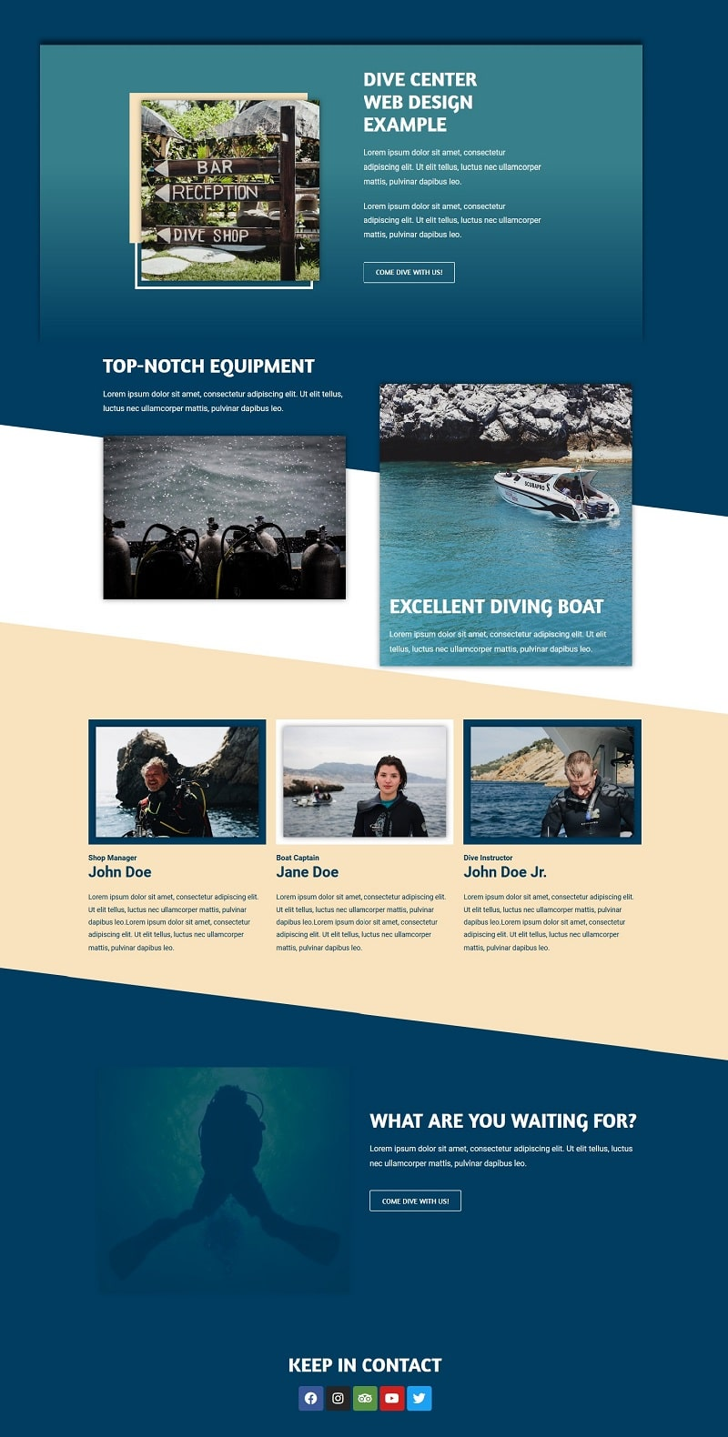 dive center landing page design including team