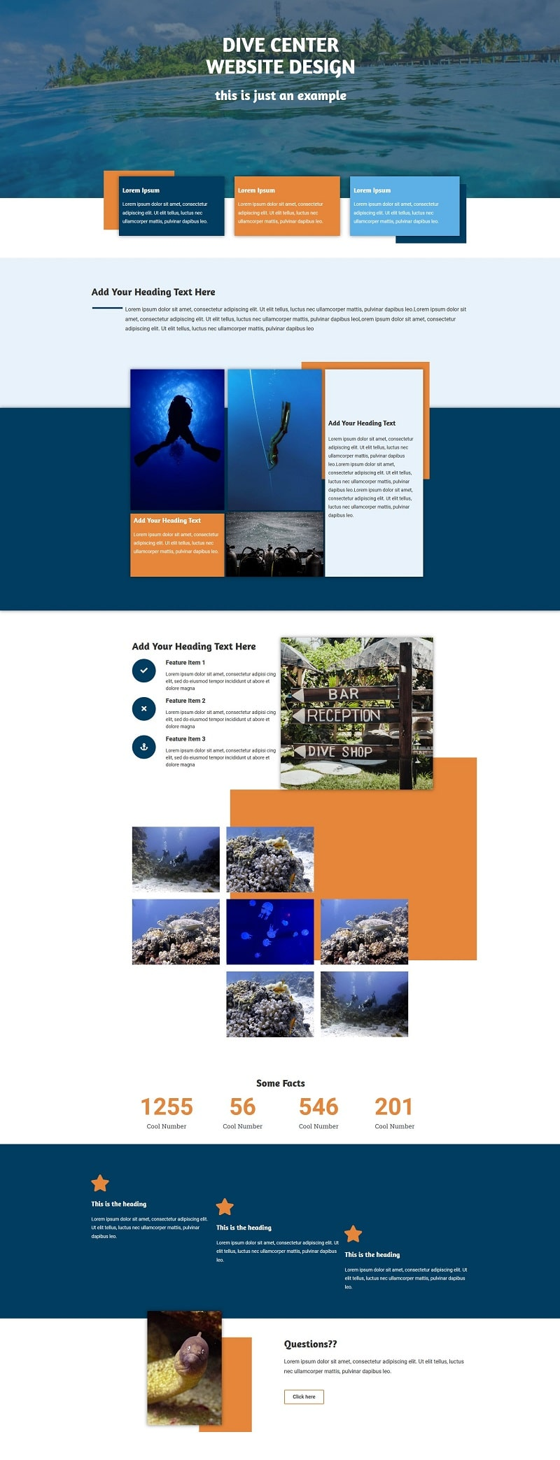 Dive resort homepage design
