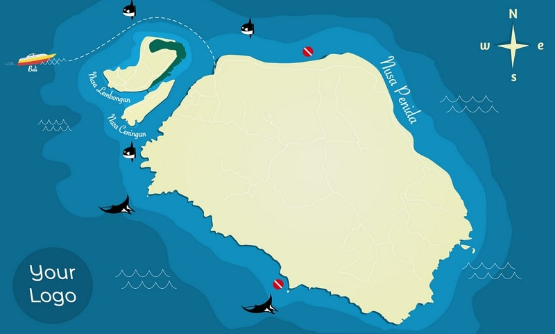 Dive Site Maps. example of Lembongan Bali