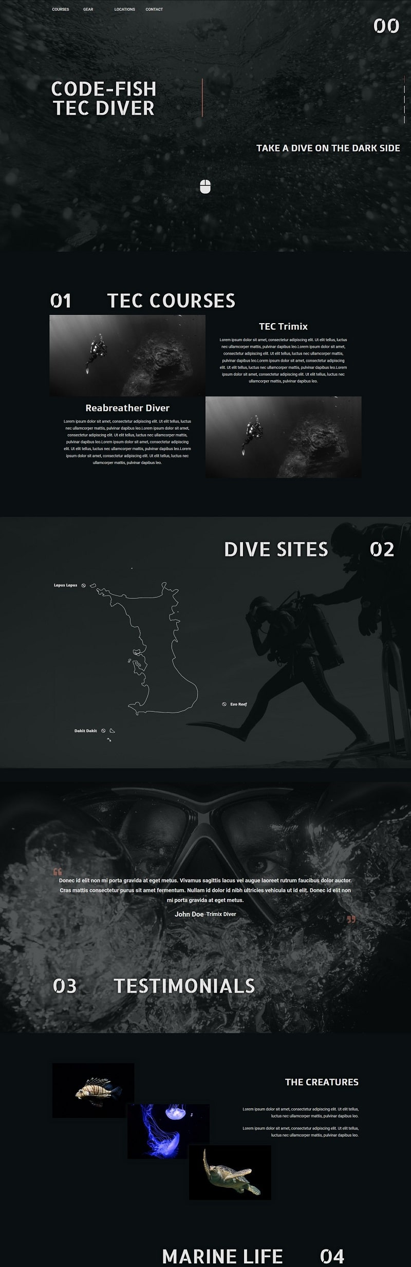 Tecnical diving homepage. Design using dark theme